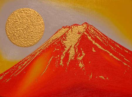vermilion: Red  mount Fuji with Golden Sun Sunrise Illustration