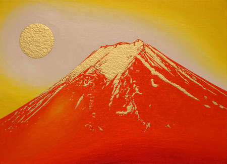 Red Mount Fuji with gold from Fujiyoshida City