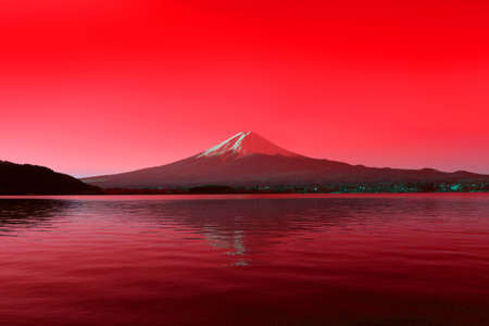 Mount Fuji stains red