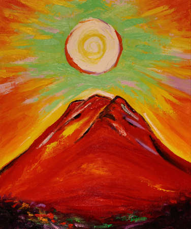 Oil Painting Sun and Red Mount Fuji
