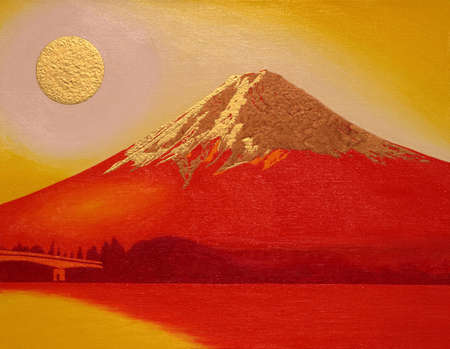 Red Mount Fuji with Gold Sun from Lake 矢量图像