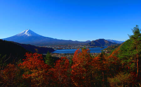 Mt.Fuji in autumn from the hill of Lake kawaguchi japan 免版税图像
