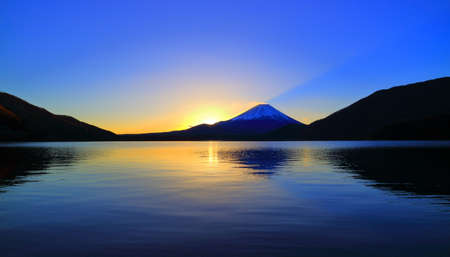 Mount Fuji of Sunrise from Lake Motosu Japan