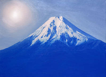 "Lgemälde Mt. Fuji aus ""Fujiyoshida"" Stadt, Japan. Standard-Bild - 92739875"