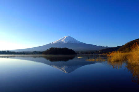 Mount Fuji in the early morning on a blue sky from Lake
