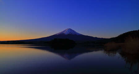 Sunrise and Mt. Fuji from Lake