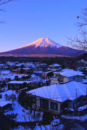 Mt. Fuji of early morning snow scenery from Oshino Village Japan 01 / 27 / 2018