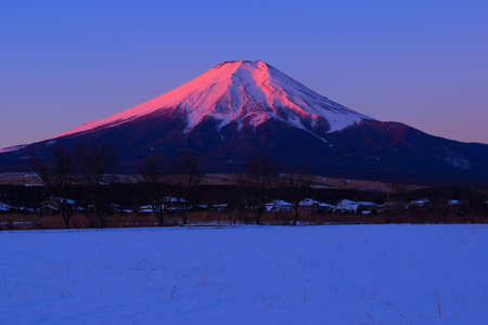 Red Mount Fuji Snow scenery from Oshino Village Japan 01 / 27 / 2018