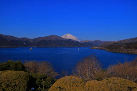 Mount Fuji and Lake Ashi from Onshi Hakone National Park Japan