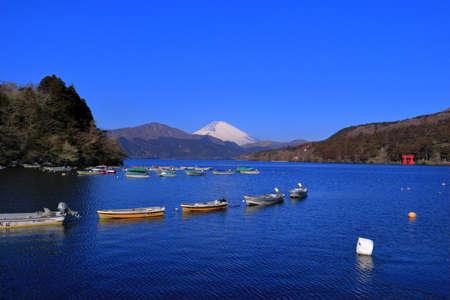 Mount Fuji of Lake Ashi with blue sky from Old Hakone Port Japan 02 / 09 / 2018