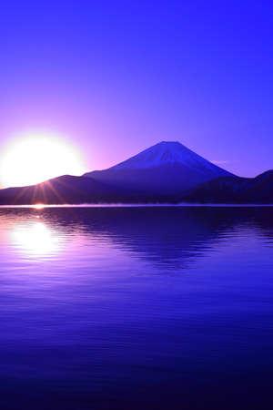 Mount Fuji and Sunrise from Lake Motou Japan Stock fotó - 95593509