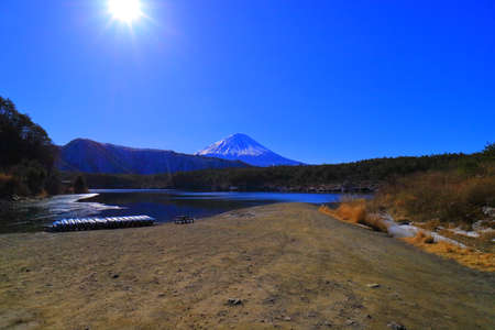 Mount Fuji from the root ground beach of Lake Sai Japan 02 / 14 / 2018