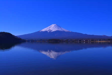 Mt.Fuji of blue sky clear weather from Lake Kawaguchi Japan.