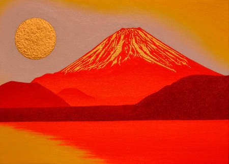 Oil painting Golden sun's sunrise and Red Mt.Fuji from Lake Motosu Japan 2018