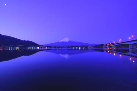 Japan Kawaguchi Lake Mt. Fuji at dawn