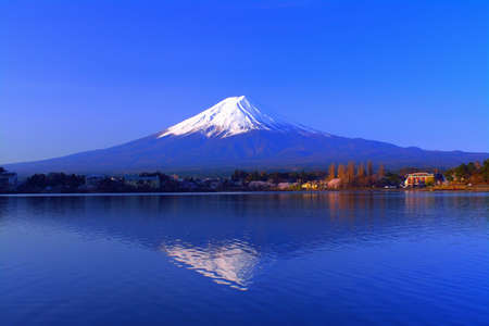 Inverted Mt. Fuji in the Morning with blue sky fine weather from the