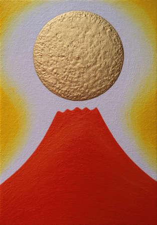 Red Mt.Fuji and golden sun of Sunrise Illustration