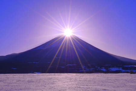 Diamond Mount Fuji Snowy scenery from