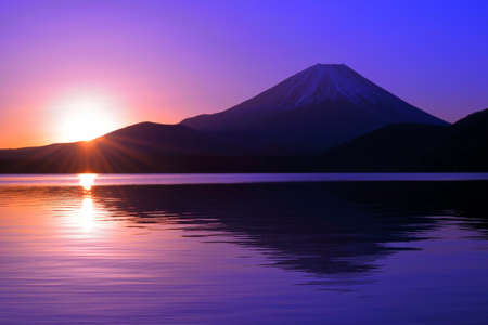 Sunrise of the morning glow from Lake Motosu and Mt. Fuji Japan 02 / 08 / 2019