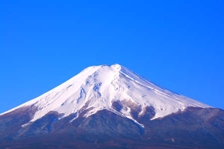 Mt. Fuji with blue sky from Fujiyoshida City Japan