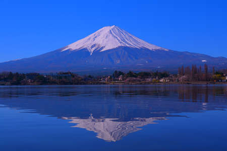 Upside down Mt. Fuji of the blue sky clear from