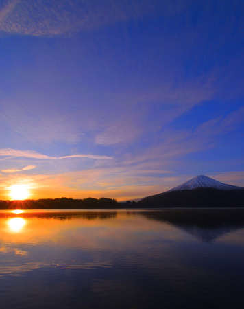 Mount Fuji and Sunrise of Morning Glow of Lake Kawaguchi Yamanashi Reflection Japan 12/16/2019