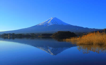 Mt. Fuji of clear blue sky from Oishi Park in Kawaguchi Yamanashi Reflection Japan 01/02/2010