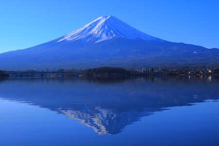 Mount Fuji Upside Down from Blue Sky from Lake Kawaguchi Yamanashi Japan 01/02/2020