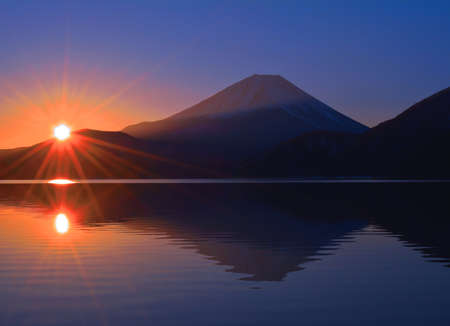 Mt. Fuji with Sunrise of the Morning Glow from Lake Motosu Japan 02/04/2020