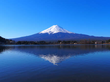 Mt. Fuji of Clear Blue Sky from Ubuyagasaki