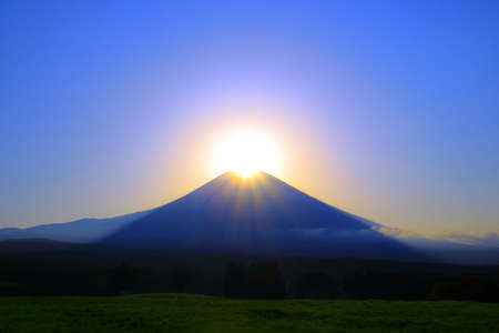 Diamond Mount Fuji from Asagiri plateau in Fujinomiya City Japan