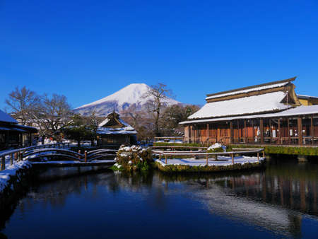 World heritage Oshino Hakkai and Mount Fuji Snow scene Yamanashi Prefecture Japan 04/14/2020