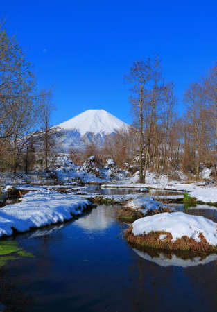 Loach Pond -Dojo-Ike of Snowfall in Oshino Village and Mt. Fuji Yamanashi Japan 04/14/2020