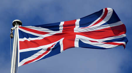 fluttering: Union Jack flag in the breeze