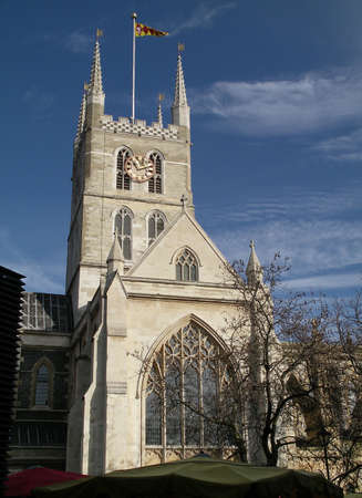 southwark: A view of Southwark Cathedral from Borough Market in London Stock Photo