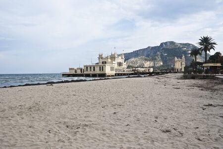 mondello: Charleston di Mondello Palermo sulla spiaggia di Sicilia-Italia Archivio Fotografico