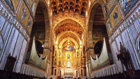 Medieval Norman architecture  Cathedral of Monreale, interior with its golden mosaics  Stock Photo - 12790380