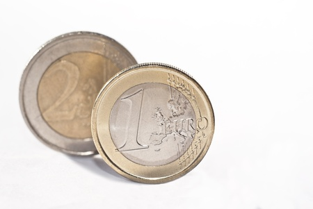 One and two euro coin, isolated on the white background.selective focus photo