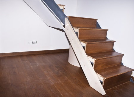 room and stair with hardwood floors  photo