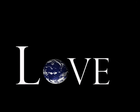 Illustration of the earth inside the word love on black background. Archivio Fotografico