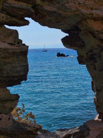 eolie: the sea beyond the rocks. eolies islands