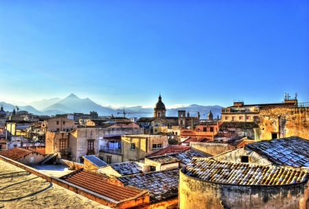 View of Palermo with roofs in high dynamic range. Sicily- Italy