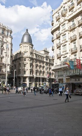 MADRID - MAY 13: The Gran Via in Madrid marked its 100 year history in 2010 and is the citys main commercial streets with a length of 1,316 meters. Gran Via on May 13, 2011 in Madrid, Spain.