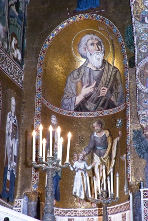cappella: Interior de la Capilla Palatina en el Palazzo dei Normanni. Palermo, Italia