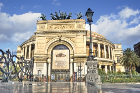 The Politeama Garibaldi theater in Palermo in hdr  Sicily  Italy