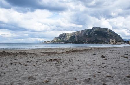 mondello: The famous beach of Mondello in Palermo, Sicily Stock Photo