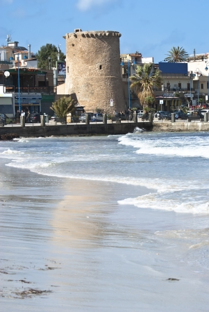 mondello: vecchia torre in spiaggia di Mondello. Palermo, Sicilia Editoriali