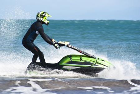 man on the jet ski above the water at Mondello