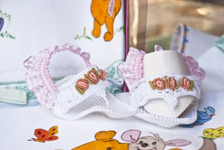 children's shoes embroidered.Handmade photo