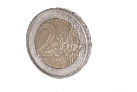two euro coin isolated on white photo